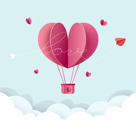 Paper art style of valentine day and love greeting card template background.Vector illustration.