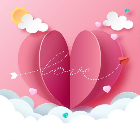 Paper art style of love and hearth greeting card template background.Vector illustration.
