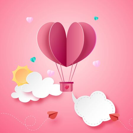 Paper art style of valentine's day greeting card template background.Vector illustration. Illustration