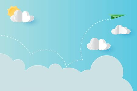 Paper plane flying on blue sky landing page template background.Paper art of business concept vector illustration.