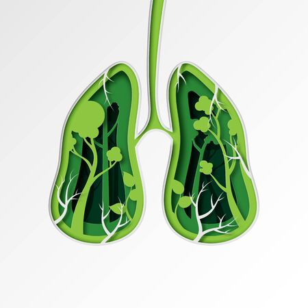 Green lung of nature concept paper art style.Environment and ecology conservation sustainable resource concept.Vector illustration.