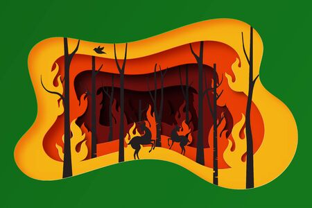 Stop forest fire poster for environment and ecology concept template background.Paper art of trees and wildlife burning in fire vector illustration.
