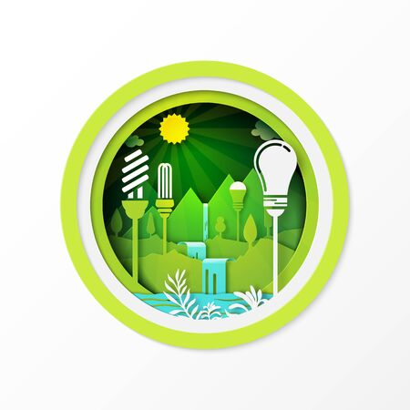 Paper art of green eco friendly energy with hydropower,hydroelectricity and renewable energy.Vector illustration.