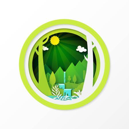Paper art of green nature landscape background.Vector illustration. Vettoriali