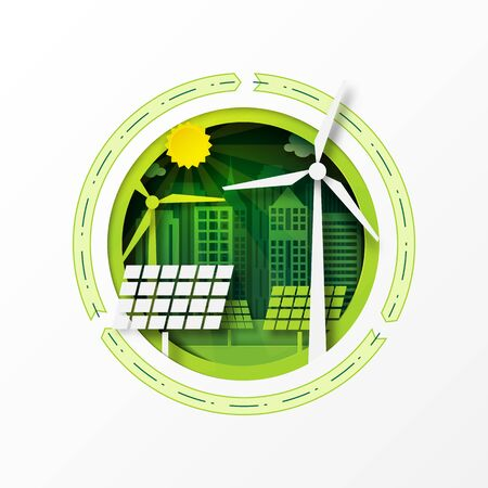Paper art of green eco friendly city and renewable energy for sustainable resources conservation environment concept.Vector illustration.