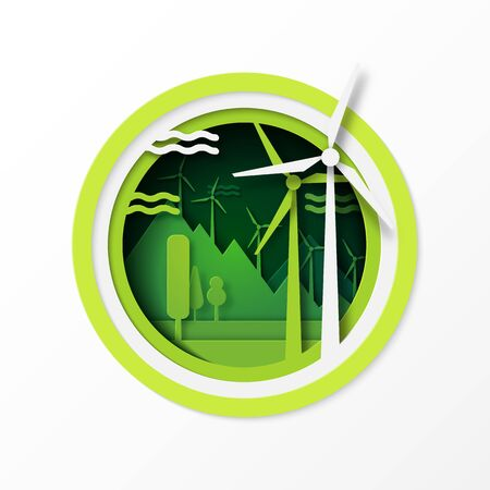 Paper art of green ecology and wind turbine for renewable energy sustainable resources conservation environment concept.Vector illustration.