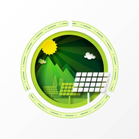 Paper art of green ecology and solar power energy for sustainable resources conservation environment concept.Vector illustration.