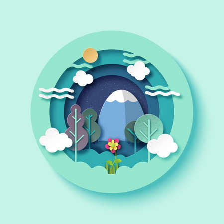 Colorful nature landscape with flower,trees,clouds and mountain paper art vector illustration.