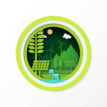 Paper art of green ecology and clean energy for sustainable resources conservation environment concept.Vector illustration. Banco de Imagens - 140506400