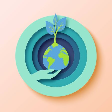 Save the world with human hand holding the earth and growing plant.Earth day concept paper art style vector illustration. Vettoriali
