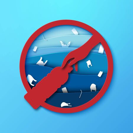 Stop ocean plastic pollution sign paper art style.Ecology and ocean environment concept.Vector illustration. Vettoriali