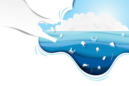 Ocean plastic pollution banner template background.Paper art of ocean,conservation and sustainable environment and ecology concept.Vector illustration.