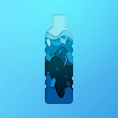 Plastic bottle and ocean pollution sign paper art style.Ecology and ocean environment concept.Vector illustration. Illustration