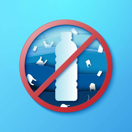 Stop ocean plastic pollution sign paper art style.Ecology and ocean environment concept.Vector illustration. Illustration