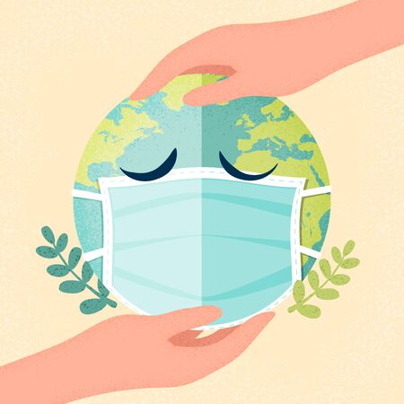 Hands human holding earth planet with a medical mask.Air pollution,Coronavirus pandemic and Covid-19 quarantine concept.Vector illustration.