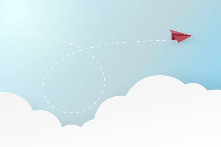 Paper airplane with business success and leadership concept landing page background.Vector illustration.