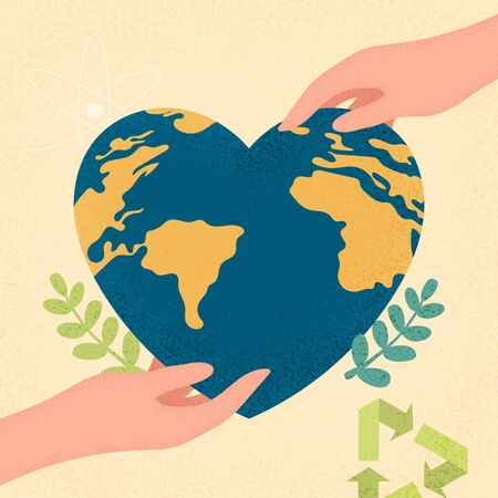 Hands human holding earth planet with heart shape.Earth day and World environment day concept of ecology sustainable.Vector illustration.