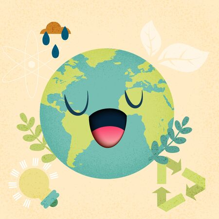 Earth day and world environment day.Concept of ecology conservation sustainable.Vector illustration.  Vettoriali