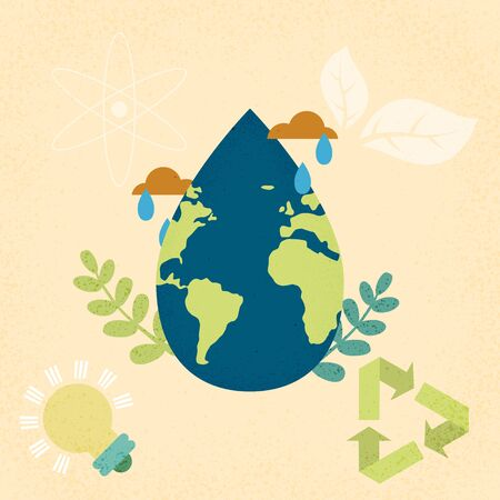 Earth planet with water drop shape.World water day and World environment day concept of ecology sustainable.Vector illustration.