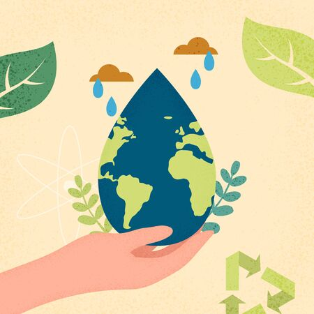 Hands human holding earth planet with water drop shape.World water day and World environment day concept of ecology sustainable.Vector illustration.