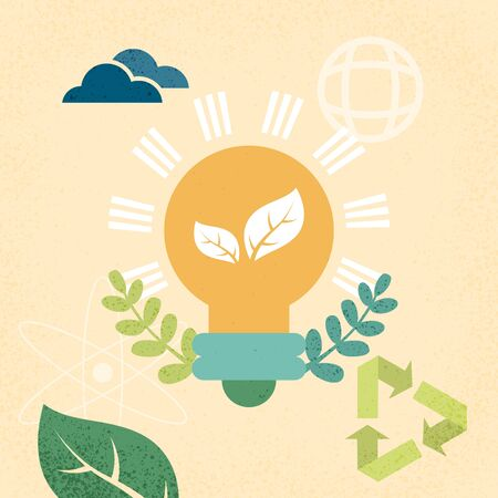 Light bulb with save energy and ecology concept. Vettoriali