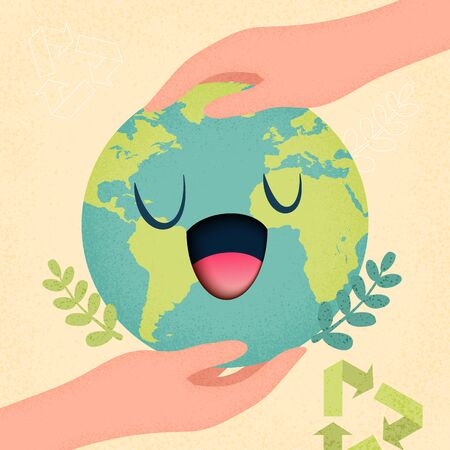 Mother earth day and World environment day concept with hand holding earth planet.