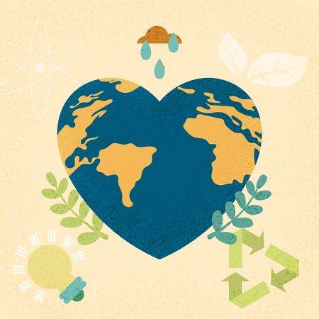 Mother earth day and World environment day concept with earth planet in heart shape.