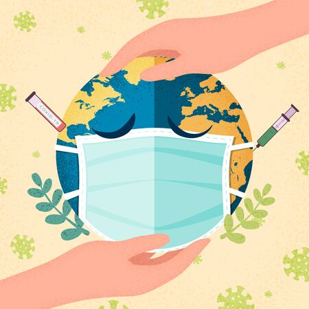 Hands human holding earth planet with a medical mask.Coronavirus pandemic and Covid-19 quarantine concept.Vector illustration.