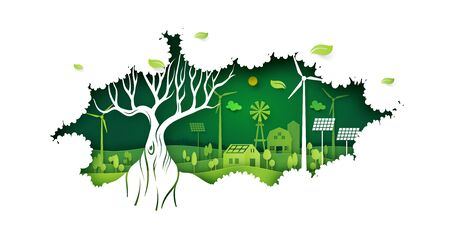 Ecology concept with big tree and green eco life background.Environment conservation resource sustainable.Vector illustration. Ilustração