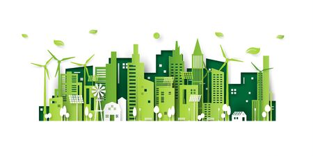 Ecology concept with green eco city background.Environment conservation resource sustainable.Vector illustration. Ilustração