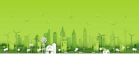 Green eco city on natural background.Ecology and environment conservation resource sustainable concept.Vector illustration.