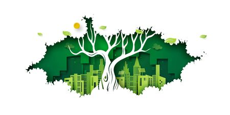 Ecology concept with big tree and green eco city background.Environment conservation resource sustainable.Vector illustration. Ilustração