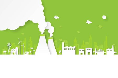 Green industry and clean energy on eco friendly cityscape background.Paper art of ecology and environment concept.Vector illustration.