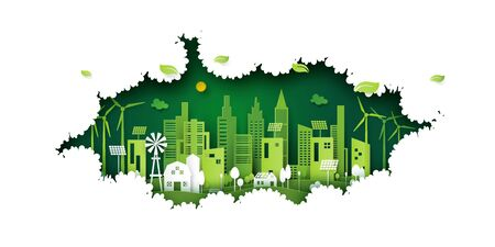 Ecology concept with green eco city on nature background.Environment conservation resource sustainable.Vector illustration.