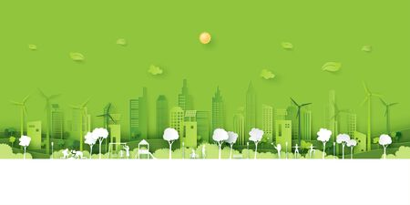 Human activities in the park with fresh air on green eco friendly city background.Ecology and Environment concept paper art style.Vector illustration.