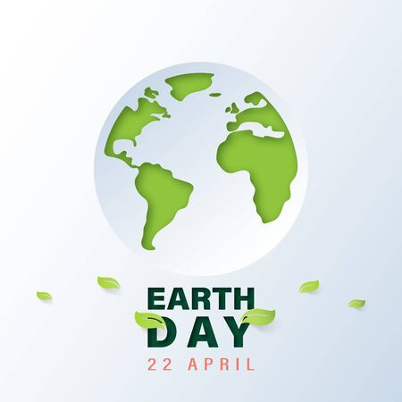 Green world with earth day and world environment day concept.Paper art of ecology and environment.Vector illustration. Ilustração
