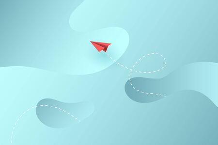 Red paper airplane flying on blue sky.Concept of business landing page banner template background.Vector illustration. Ilustração