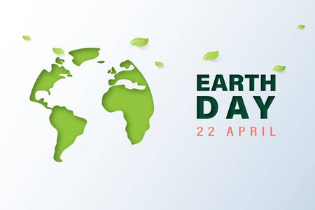 Green earth with earth day and world environment day concept.Paper art of ecology and environment.Vector illustration.