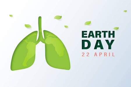 Green lung with earth day and world environment day concept.Paper art of ecology and environment.Vector illustration.