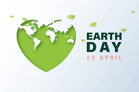 Green heart with earth day and world environment day concept.Paper art of ecology and environment.Vector illustration. Ilustração