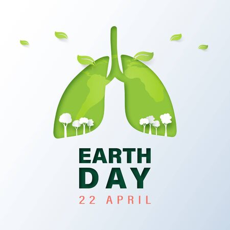 Green lung and tree with earth day and world environment day concept.Paper art of ecology and environment.Vector illustration.
