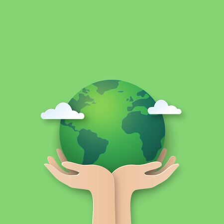 Hand holding earth.Paper cut of world environment day background. Archivio Fotografico - 145119557