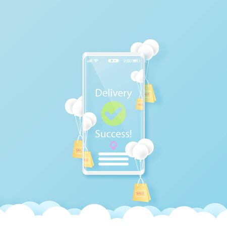 Smart phone with online shopping and delivery service concept template background.Paper art Vector illustration.