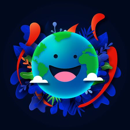 Happy earth face and tropical plants leaves on dark blue background.Vector illustration.