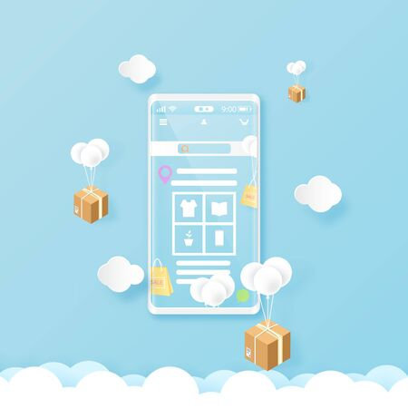 Smart phone on blue sky with online shopping and delivery service.Mobile application template background.Paper art Vector illustration. Ilustração