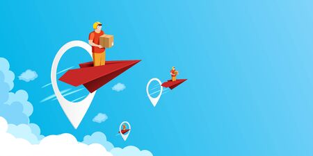 Fast delivery service concept with delivery man on red paper plane fly through the GPS navigation application landing page background.Vector illustration.