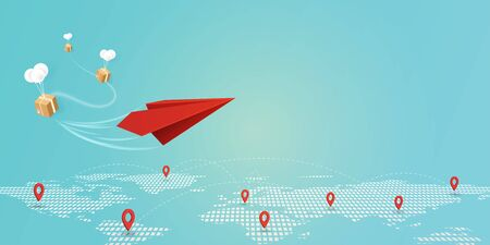 Fast delivery service concept with red paper plane and GPS navigation pin application on the location map landing page background.Vector illustration.