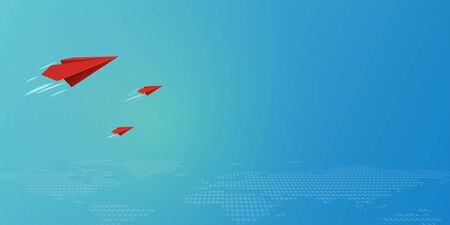 Red paper airplanes flying on blue sky and business teamwork concept.Vector illustration.