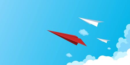 Paper airplanes flying on blue sky.Business teamwork and leadership concept.Vector illustration.