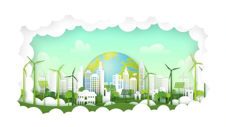 Green eco city on natural background.Ecology and environment conservation resource sustainable concept.Vector illustration. Banque d'images - 150375148